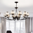Faceted Clear Crystal Prism Chandelier Rustic Black Conic Living Room Hanging Light