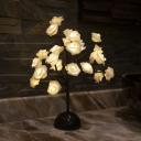 Flower Tree LED Table Light Romantic Modern Plastic Bedroom Battery Nightstand Lamp in Black