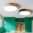 Acrylic Round Flush Light Minimalist Black and Wood Flushmount Ceiling Lamp for Bedroom