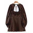 Unique Women's Blouse Dress Polka Dot Print Hollow out Ruched Drawstring Detail Long Bishop Sleeves Relaxed Fit A-Line Mini Blouse Dress