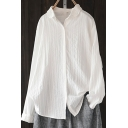 Leisure Shirt White Long Sleeve Spread Collar Button Up Relaxed Fit Shirt Top for Women