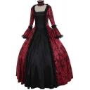 Trendy Women's A-Line Dress Lace Trim Jacquard Detail Patchwork Panel Long Flare Cuff Sleeves Maxi Flowy A-Line Dress