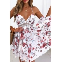 Pretty Womens Dress Allover Floral Print Halter Backless Lace Trim Bi-layered Short Pleated Cami Dress in Red
