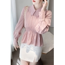 Pretty Womens Shirt Solid Color Long Sleeve Point Collar Ruffled Regular Fit Shirt Top