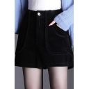 Warm Womens Shorts Solid High Rise Corduroy Relaxed Shorts