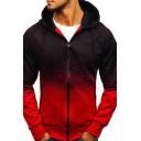 Leisure Men's Hoodie Ombre Pattern Zip Closure Long Sleeves Drawstring Hooded Sweatshirt