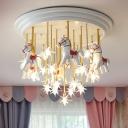 White Horse Flushmount Ceiling Lamp Kids Resin LED Starry Semi Flush Mount Light for Nursery