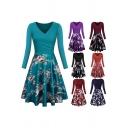 Stylish Womens Dress Floral Print Long Sleeve Surplice Neck Midi A-line Pleated Dress