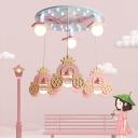 Princess Crown Wooden Ceiling Lamp Kid 6 Bulbs Pink Multiple Hanging Pendant Light