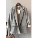 Stylish Women's Suit Jacket Plaid Tartan Pattern Button Closure Flap Pocket Notched Lapel Collar Long Sleeves Regular Fitted Suit Jacket