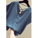 Leisure Women's Shirt Blouse Solid Color Criss Cross Button Front Rolled up Short Sleeve V Neck Relaxed Fit Shirt Blouse