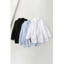 Unique Women's Shirt Solid Color Button Fly Chest Pocket Asymmetrical Hem Point Collar Long Sleeves Relaxed Fit Shirt