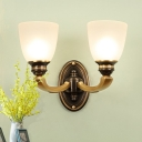 Frosted White Glass Bell Wall Lamp Antique Living Room Wall Sconces Lighting Fixture in Brass