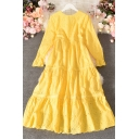 Unique Women's A-Line Dress Solid Color Hollow out Lace Round Neck Long Sleeve Regular Fitted Long A-Line Dress