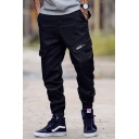 Street Style Plain Camo Pattern Letter Printed Pocket Cargo Pants Ankle Banded Trousers
