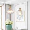 Nordic Geometric Hanging Light Kit 1-Bulb Textured Glass Ceiling Pendant in Gold