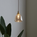 Bell Shaped Glass Pendant Light Fixture Industrial Single Dining Room Suspension Lighting
