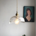 Hammered Glass Clear Pendant Lighting Bowl Shaped 1-Bulb Nordic Ceiling Hang Lamp
