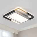 Gold-Black Geometry Flush Mounted Lamp Contemporary Acrylic LED Ceiling Light Fixture