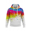 Chic 3D Ink Painting Long Sleeve Slim Fitted White Hoodie for Men