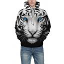 Unique Men's Hoodie Tiger Digital 3D Print Front Pocket Long Sleeve Regular Fitted 3D Hooded Sweatshirt