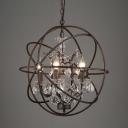 Rust Orbit Globe Pendulum Light Loft Style Iron Bistro Ceiling Chandelier with Crystal Deco