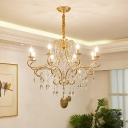 Scroll Arm Metal Hanging Light Vintage Living Room Chandelier in Gold with Crystal Draping