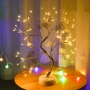 Gold Finish Tree Table Lighting Decorative Metallic USB Charging LED Nightstand Lamp