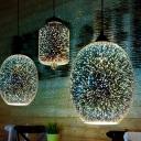 3D Firework Glass Bottle Pendant Light Modern Black Multi Hanging Light Fixture over Table