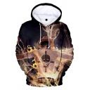 Popular Comic Figure Fire Skull 3D Printed Long Sleeve Drawstring Hooded Black Pullover Hoodie