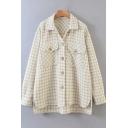 Fancy Women's Shirt Tartan Pattern Button Fly Flap Pocket Spread Collar Split Hem High-Low Long Sleeves Relaxed Fit Shirt