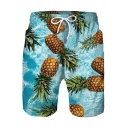 Funny Cute Glasses Pineapple Printed Drawstring Waist Mens Quick Drying Blue Swim Shorts