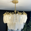 Circular Pendant Lighting Fixture Postmodern Feather White Hanging Lamp for Bedroom