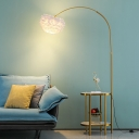 Arched Standing Floor Lamp Postmodern Metal Single 2-Tray Floor Light with Feather Lampshade