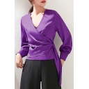 Classic Blouse Long Sleeve Surplice Neck Satin Tied Side Slim Fit Solid Wrap Blouse Top