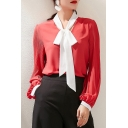 Womens Elegant Shirt Chiffon Long Sleeve Bow-tied Neck Relaxed Fit Shirt Top