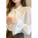 Fancy Ladies Shirt Plain Bell Sleeve Bow Tied Neck Lace Trim Relaxed Shirt in White