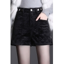 Simple Velvet Shorts Quilted High Rise Zipper Side Relaxed Fit Plain Shorts