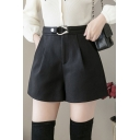 Simple Ladies Shorts Wool Belted Waist Solid Color Wide-leg Shorts