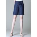 Fashion Womens Shorts Plain Drawstring Waist Straight Denim Shorts