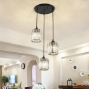 Cylindrical Multi Pendant Ceiling Light Modern Crystal Block Dining Room Hanging Lamp in Black