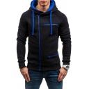 Trendy Men's Hoodie Contrast Piping Zip Closure Long Sleeves Raglan Drawstring Hooded Sweatshirt