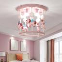 Merry-Go-Round Ceiling Mount Lamp Cartoon Resin 6-Bulb Bedroom Flush Light Fixture