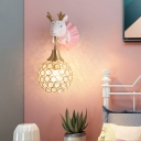 Cartoon Deer Wall Mount Lamp Resin Single Bedside Wall Sconce with Hollowed out Shade