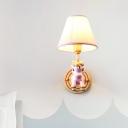 Unicorn Kids Bedside Wall Sconce Light Resin 1 Head Cartoon Wall Lamp with Empire Shade