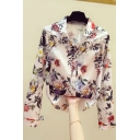 Stylish Women's Shirt Blouse Floral Pattern Button Fly Peter Pan Collar Long Sleeves Regular Fitted Shirt Blouse