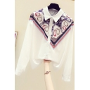 Fancy Women's Shirt Blouse Contrast Panel Chain Pattern Button Closure Point Collar Long Sleeves Regular Fitted Shirt Blouse