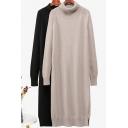 Fancy Women's Sweater Dress Solid Color Ribbed Trim Turtle Neck Split Hem Long Sleeves Regular Fitted Long Sweater Dress