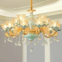 Flower Clear Glass Ceiling Pendant Antique Living Room Chandelier in Blue with Crystal Drip
