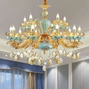 Candlestick Ceramic Chandelier Retro Restaurant Hanging Light in Blue with Crystal Draping